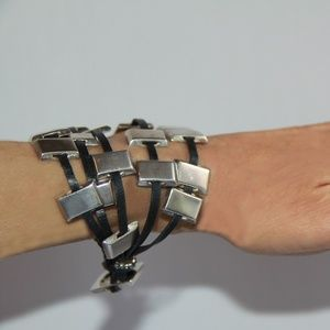 Edgy Sterling Silver Sliders and Leather Bracelet